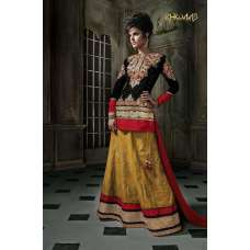Black with Red and Yellow Velvet Khwaab Aura Lengha (KH-8002)