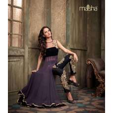 Black Velvet with Violet Georgette Anarkali Dress By Maisha Crush (Ma2201)