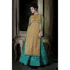 Blue Green With Yellow Khwaab Aura wedding Anarkali Gown (KH-8010)