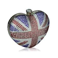 Union Jack Love Heart Crystal Clutch Bag