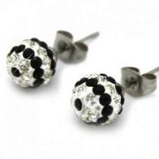 8MM BLACK & CLEAR STRIPED EARRINGS