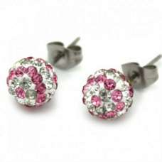 8MM PINK & CLEAR STRIPED EARRINGS