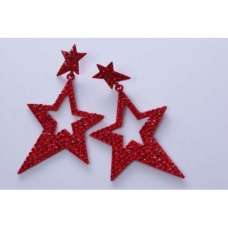 BEAUTIFUL RED STAR DESIGN DANGLING EARRINGS