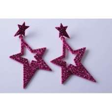 FUSCHIA STAR DESIGN CRYSTAL EARRINGS