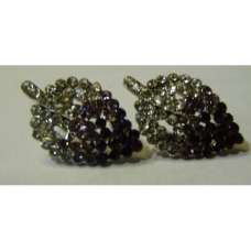 GORGEOUS NEW LEAF DESIGN CRYSTAL EARRINGS IN BLACK AND PURPLE COLOUR