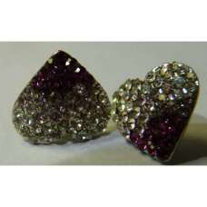 GORGEOUS PURPLE TWO TONE HEART SHAPED CRYSTAL EARRINGS
