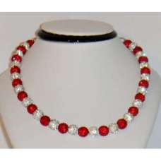 BEAUTIFUL NEW RED AND SILVER WHITE CRYSTAL NECKLACE