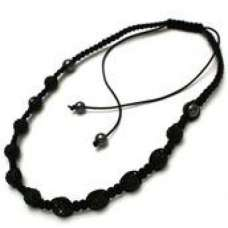 BLACK THREADED CRYSTAL BALLS NECKLACE