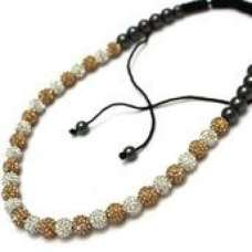 FULL CHAMPAGNE/GOLD AND WHITE CRYSTAL QUALITY CRYSTAL NECKLACE