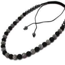 FULL GREY AND BLACK CRYSTAL NECKLACE