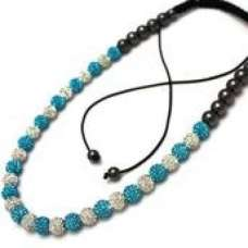 Full New Turquoise/Teal & White Real Crystal Necklace