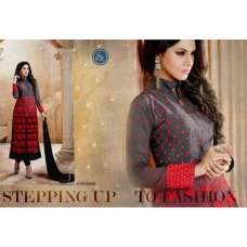 D.No.19001 Grey With Red Roles Churidaar Suit