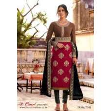 F-7301 Brown With Purple Floral Creations Velvet Designer Dress