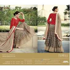 FL-7322 Red and Beige Nargis Fakhri Floral Designer Anarkali Gown