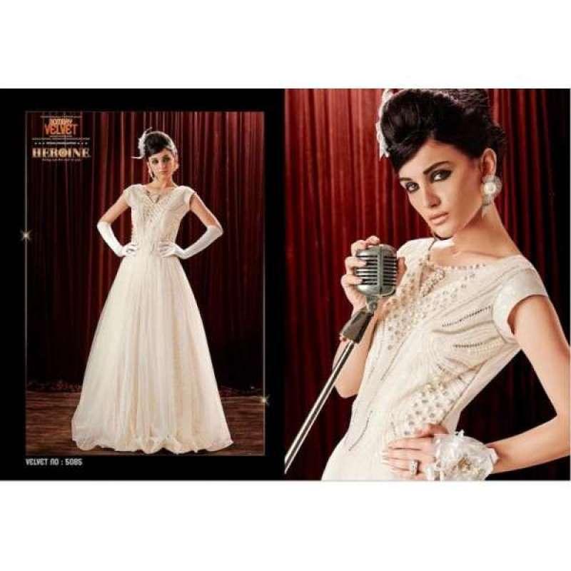 c5cdb4c2200bb HR5085 White Stunning New Anushka Sharma Bombay Velvet Gown Anarkali Dresses