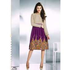 Beige and Purple ETHEREAL PASHMINA Winter Wear Indian Design Kurti