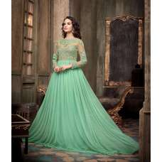 MA-2203 Mint Green with Beige Maskeen Maisha Crush Anarkali Grown