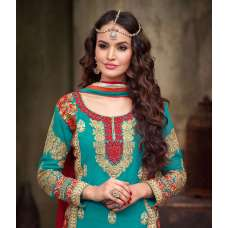 MA2210 Red and Blue Green Maskeen Maisha Crush Bridal Lengha