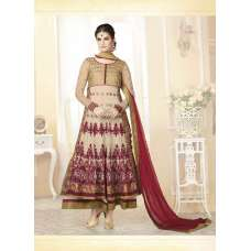 Mehak Beige With Maroon Wedding Wear Georgette & Net Anarkali Suit