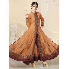 Mehak Ready Made Orange Wedding Wear Georgette & Net Anarkali Suit (Preowned)