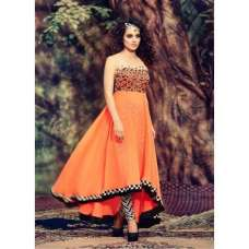 Orange Strapless Indian Maxi Designer Gown