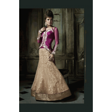 Purple and Gold Brown Khwaab Aura wedding Anarkali Gown (KH-8001)