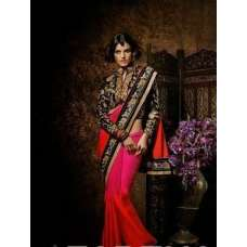 Black, Pink and Red KHWAAB WEDDING WEAR SAREE
