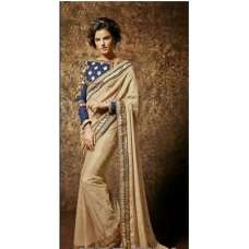 Blue and Golden KHAWAB WEDDING WEAR SAREE