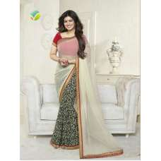 "White and Red Ayesha Takia ""Sheesha Star Walk"" Chiffon Georgette Party Wear Saree"