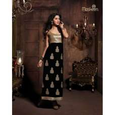 Black with Golden Touch Maskeen Velvet Detailed Embroidered Designer Wear (ORGINIAL)