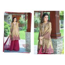 1546 BEIGE AND PLUM DECENT GEORGETTE PAKISTANI STYLE SALWAR KAMEEZ SUIT