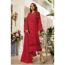 Samba Red Embroidered Organza Pakistani Style Suit