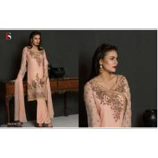 56004 PEACH EMBROIDERED GEORGETTE PAKISTANI DESIGNER STYLE SUIT