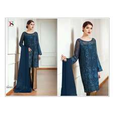 56003 BLUE EMBROIDERED GEORGETTE PAKISTANI DESIGNER STYLE SUIT