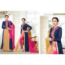 MF73010 NAVY BLUE AND PINK COLOUR ELEZITA DESIGNER SEMI STITCHED SALWAR KAMEEZ SUIT