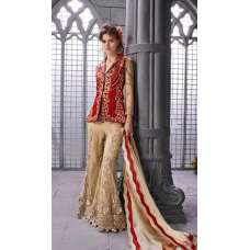 14006 GOLD AND RED STYLE ZOYA ELITE DESIGNER DRESS ( FIVE PIECE SUIT)