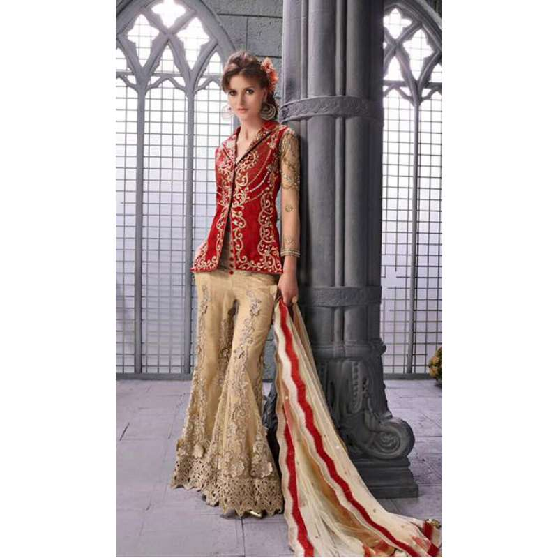 40a4198173 14006 GOLD AND RED STYLE ZOYA ELITE DESIGNER DRESS ( FIVE PIECE SUIT)