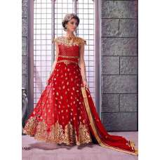 14002-C RED ZOYA ELITE DESIGNER EMBROIDERED DRESS