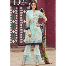 ESHAISHA D-13 MINT BLUE LAWN EMBROIDERED SUMMER WEAR SUIT