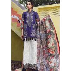 ESHAISHA D-17 BLUE LAWN EMBROIDERED SUMMER WEAR SUIT