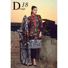 ESHAISHA D-18 BLACK LAWN EMBROIDERED SUMMER WEAR SUIT