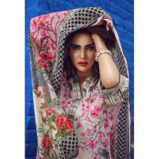 ESHAISHA D-07 MINT PINK AND BEIGE LAWN EMBROIDERED SUMMER WEAR SUIT