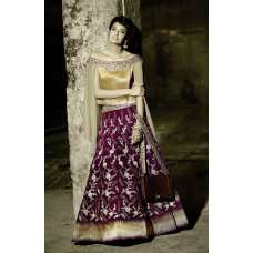 ZF15005 GOLD AND PURPLE ZOYA FEELINGS WEDDING WEAR VELVET DRESS