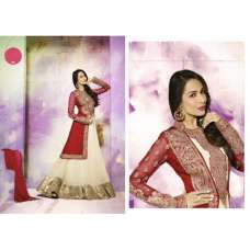 GL3807 Red And Beige GLOSSY MALAIKA ARORA ANARKALI DRESS