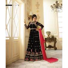 ZGS9012 BLACK GLOSSY SIMAR HEAVY EMBROIDERED AYESHA TAKAI ANARKALI STYLE GOWN