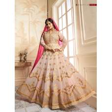 9015 PEACH GLOSSY SIMAR HEAVY EMBROIDERED AYESHA TAKAI ANARKALI STYLE GOWN