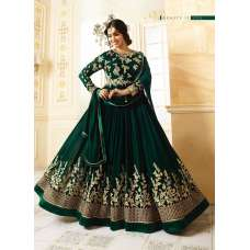 9016 GREEN GLOSSY SIMAR HEAVY EMBROIDERED AYESHA TAKAI ANARKALI STYLE GOWN