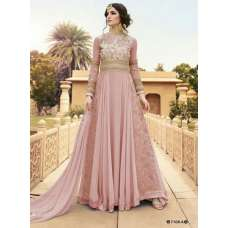 7108-A PINK GLOSSY WEDDING WEAR LEHENGA GOWN