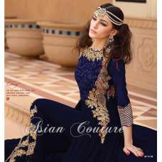 7101-C BLUE GLOSSY PARTY WEAR GEORGETTE DRESS