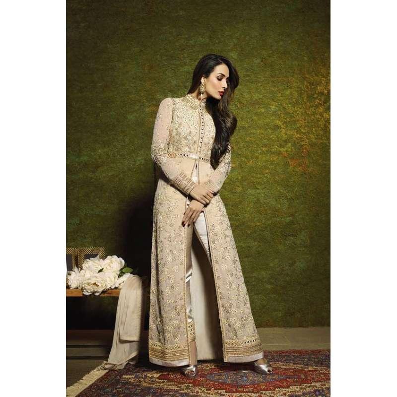 46228fd25e 6204 BEIGE GLOSSY MALAIKA ARORA KHAN WEDDING WEAR GEORGETTE SUIT ...